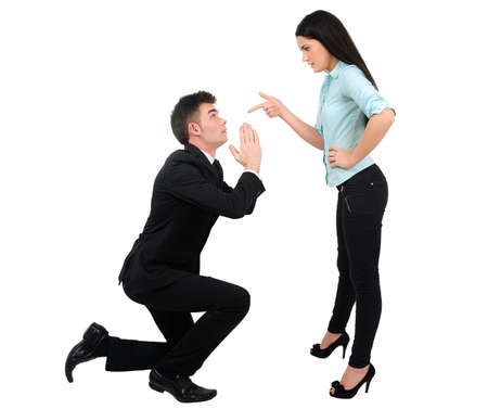 Isolated young business couple angry Stock Photo - 18353102