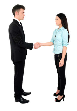 Isolated young business couple handshake photo