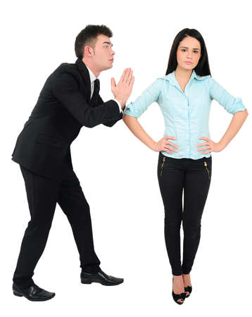 Isolated young business couple unemployment Stock Photo - 18353158
