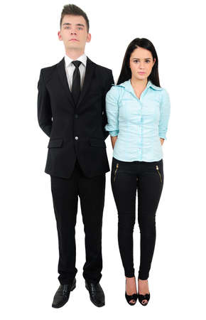 Isolated young business couple standing Stock Photo - 18353185