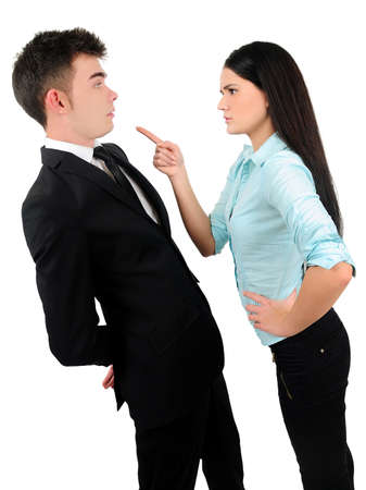 Isolated young business couple argue Stock Photo