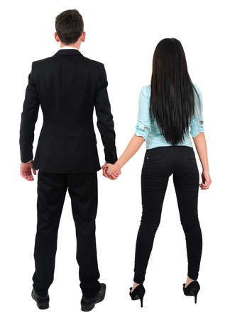 Isolated young business couple standing Stock Photo - 18353218
