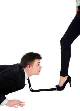 Isolated young business couple domination Stock Photo - 18353121
