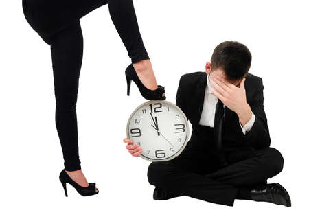 Isolated young business couple domination Stock Photo - 18353149