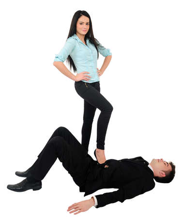 Isolated young business couple domination photo