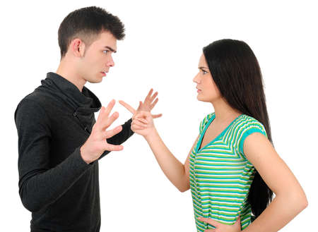 Isolated young casual couple argue Stock Photo - 18353314