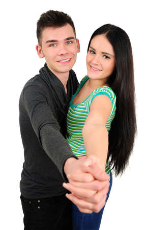 Isolated young casual couple dancing Stock Photo - 18353320