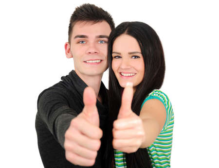 approvement: Isolated young casual couple agreement