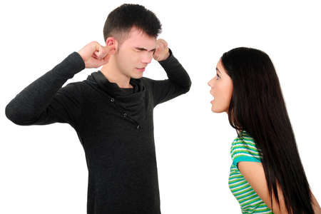 Isolated young casual couple argue photo