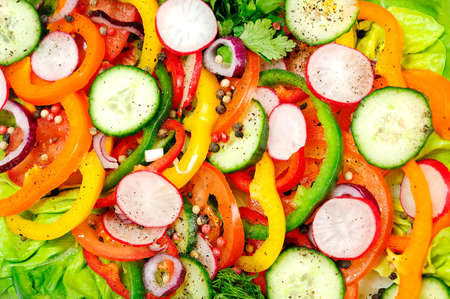 Plate with vegetable sliced salad photo