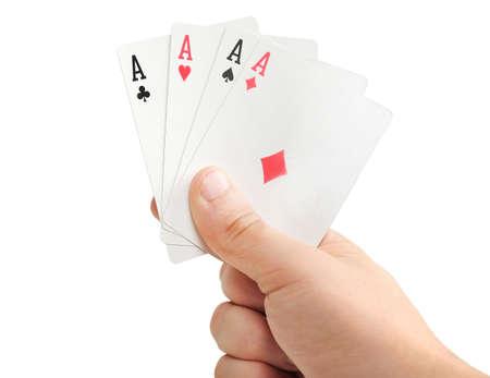jeu de carte: Jeu de cartes dans la main isolé Banque d'images
