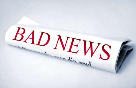 bad news: Bad news word on newspaper