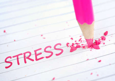 stressful: Stress word and pink pencil