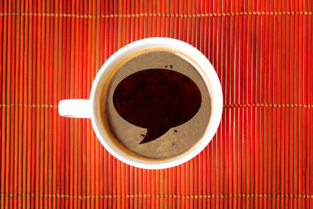 word bubble: Chat shape on coffee cup Stock Photo