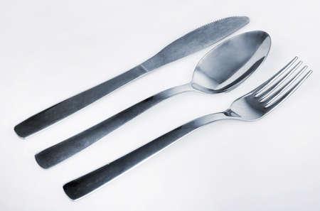 fester: Kitchen utensils on gray background Stock Photo