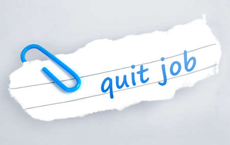 Quit job word on grey background  photo