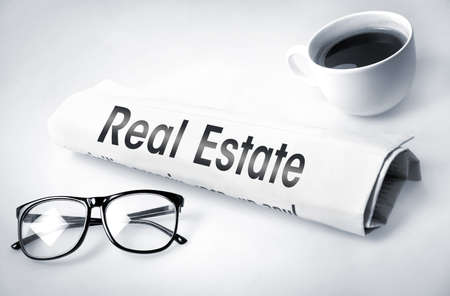 Real Estate word on newspaper  photo