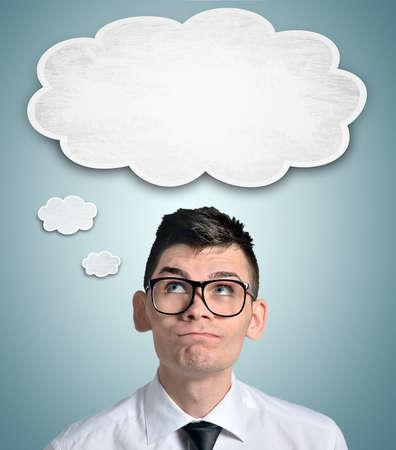 Business man and empty cloud Standard-Bild