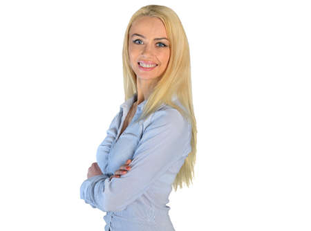 Isolated woman smiling at camera photo