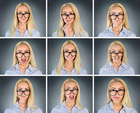 multiple: Multiple expression of woman with eyeglasess