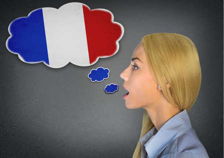 Woman speaking french in bubble photo