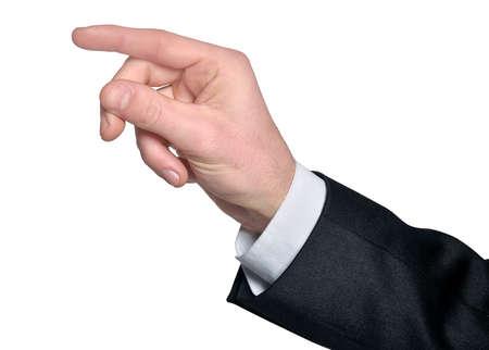 nothing: Man hand grab nothing on white
