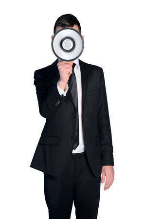 Isolated business man with loudspeaker photo