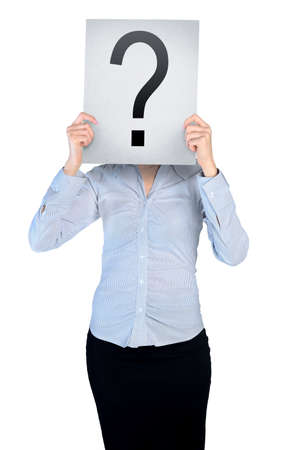 Business woman cover face with question  board photo