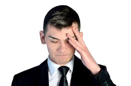 unsatisfied: Isolated sad business man closeup Stock Photo