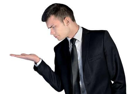 nothing: Business man amazed presenting nothing