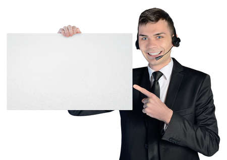 Call center man with empty board photo