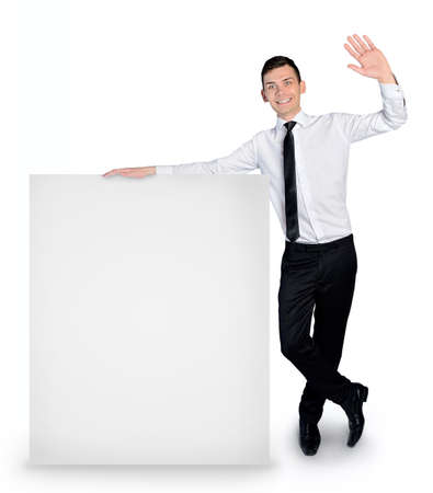Isolated business man with empty banner photo