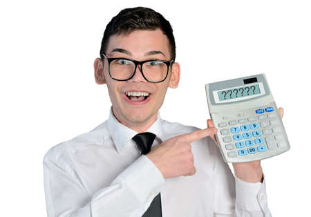 Funny man with hand calculator photo