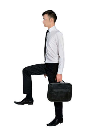 step up: Isolated business man step up