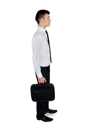 looking to side: Business man with briefcase looking  side Stock Photo