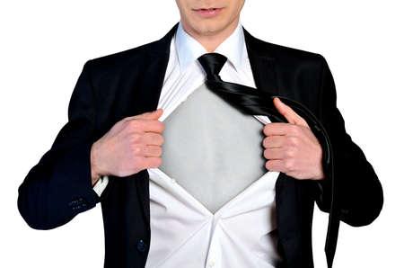 blank shirt: Super hero concept business man Stock Photo
