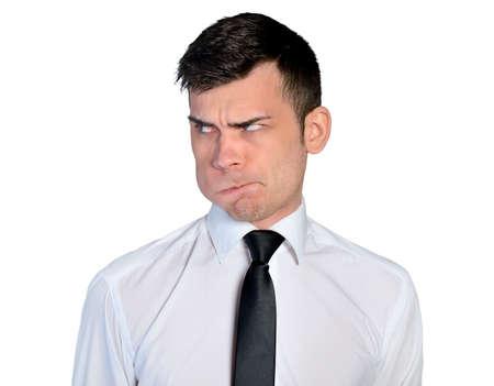 Isolated business man doubtful face