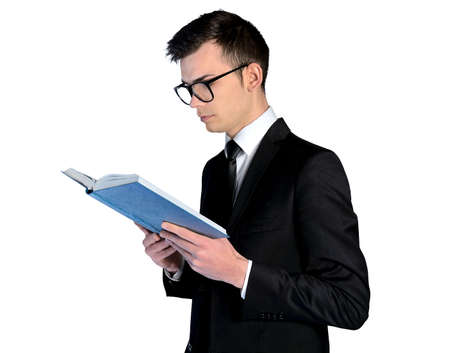 Isolated young student read book photo