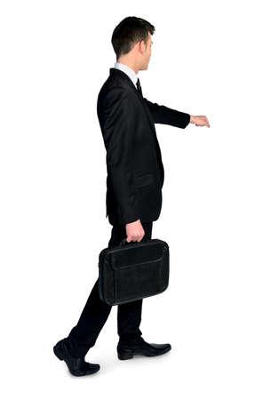 open hand: Business man open imaginary door