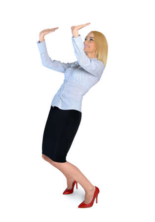Isolated business woman lifting something photo