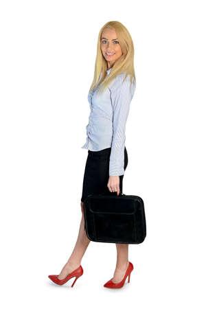 глядя на камеру: Счастливый молодой деловая женщина, глядя камеры