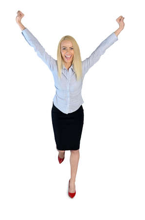 arms raised: Isolated business woman winner with hands up