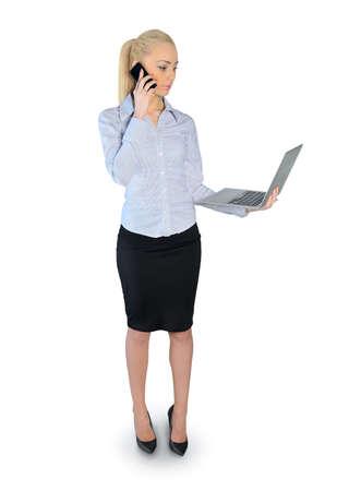 Isolated buesiness woman talking phone photo