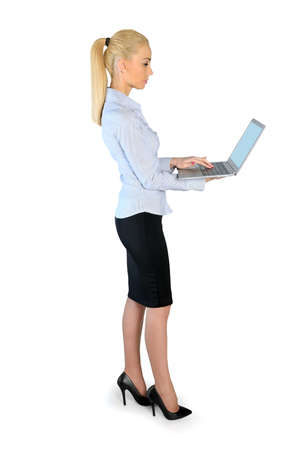 Isolated business woman with laptop photo