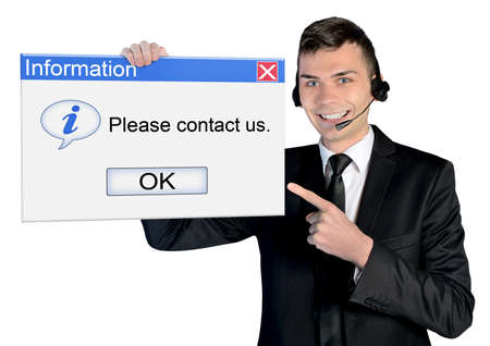 contact center: Call center man with contact us message Stock Photo