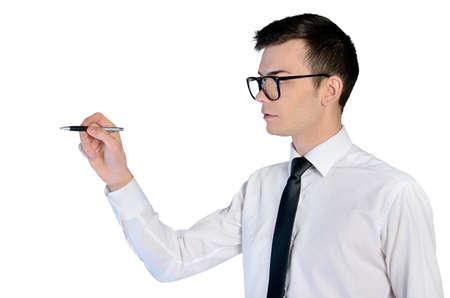 Isolated business man writing something photo