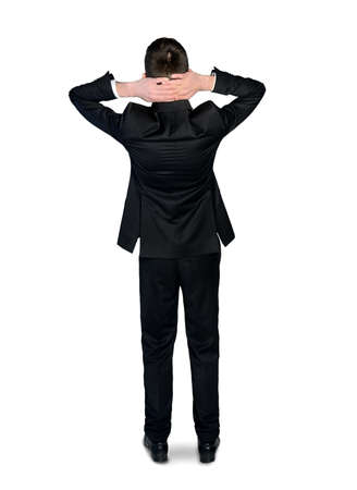 busines: Isolated busines man hands on head