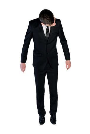 full suspended: Isolated business man doll concept Stock Photo