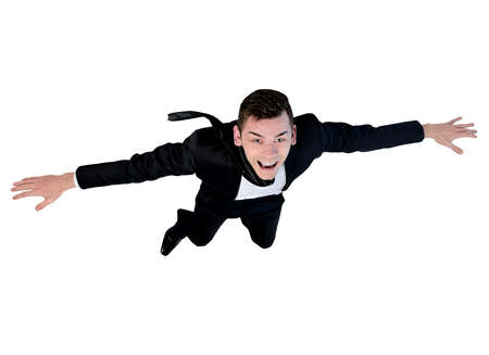 flying man: Isolated young business man flying Stock Photo