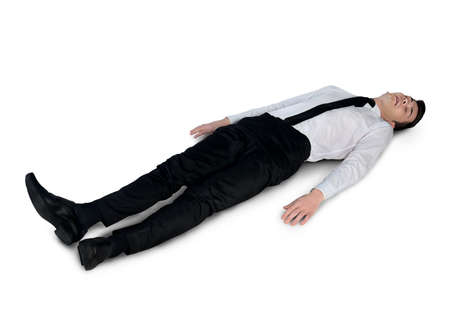 fainted: Isolated business man very tired Stock Photo